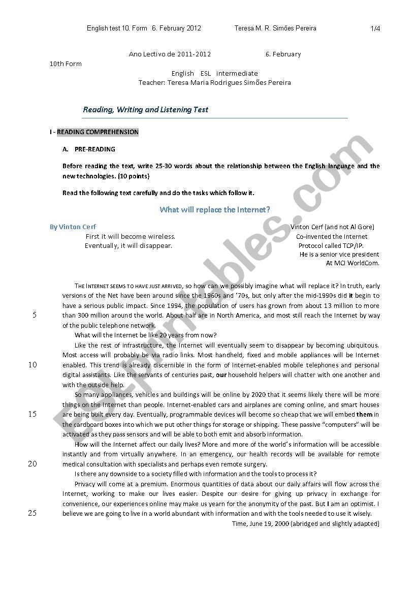 English test 10th form worksheet