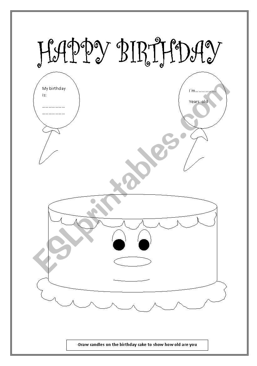 birthday cake esl worksheet by arabella86. Black Bedroom Furniture Sets. Home Design Ideas