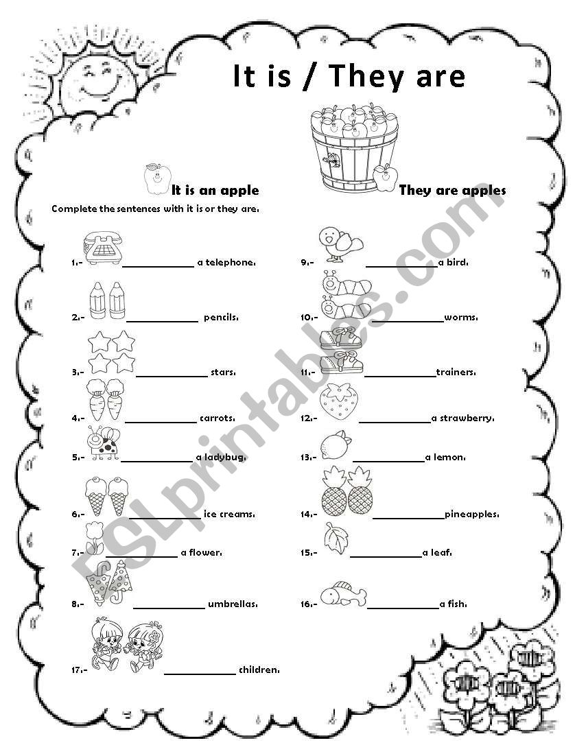 it is / they are worksheet