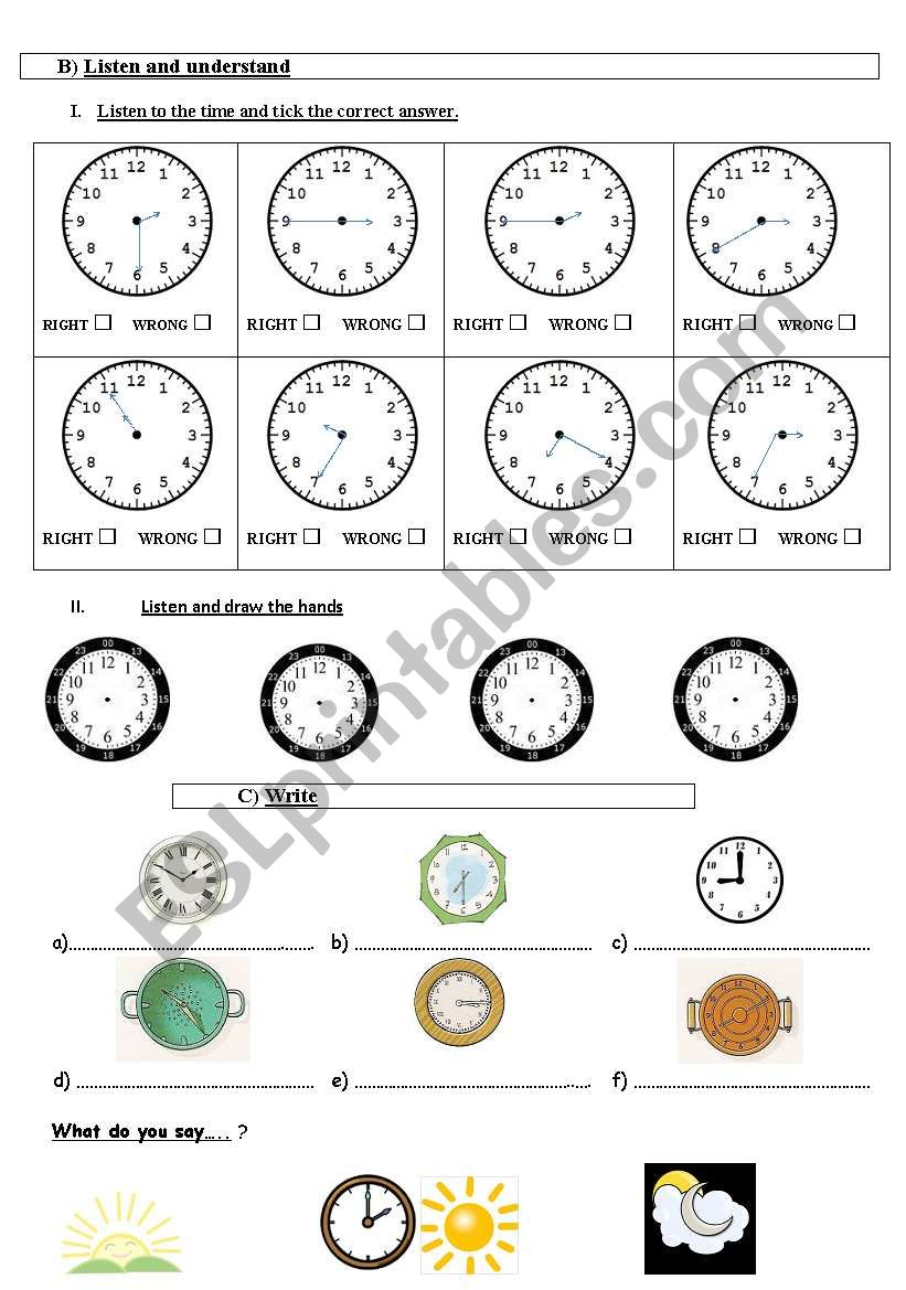 what´s the time? test part 2  worksheet