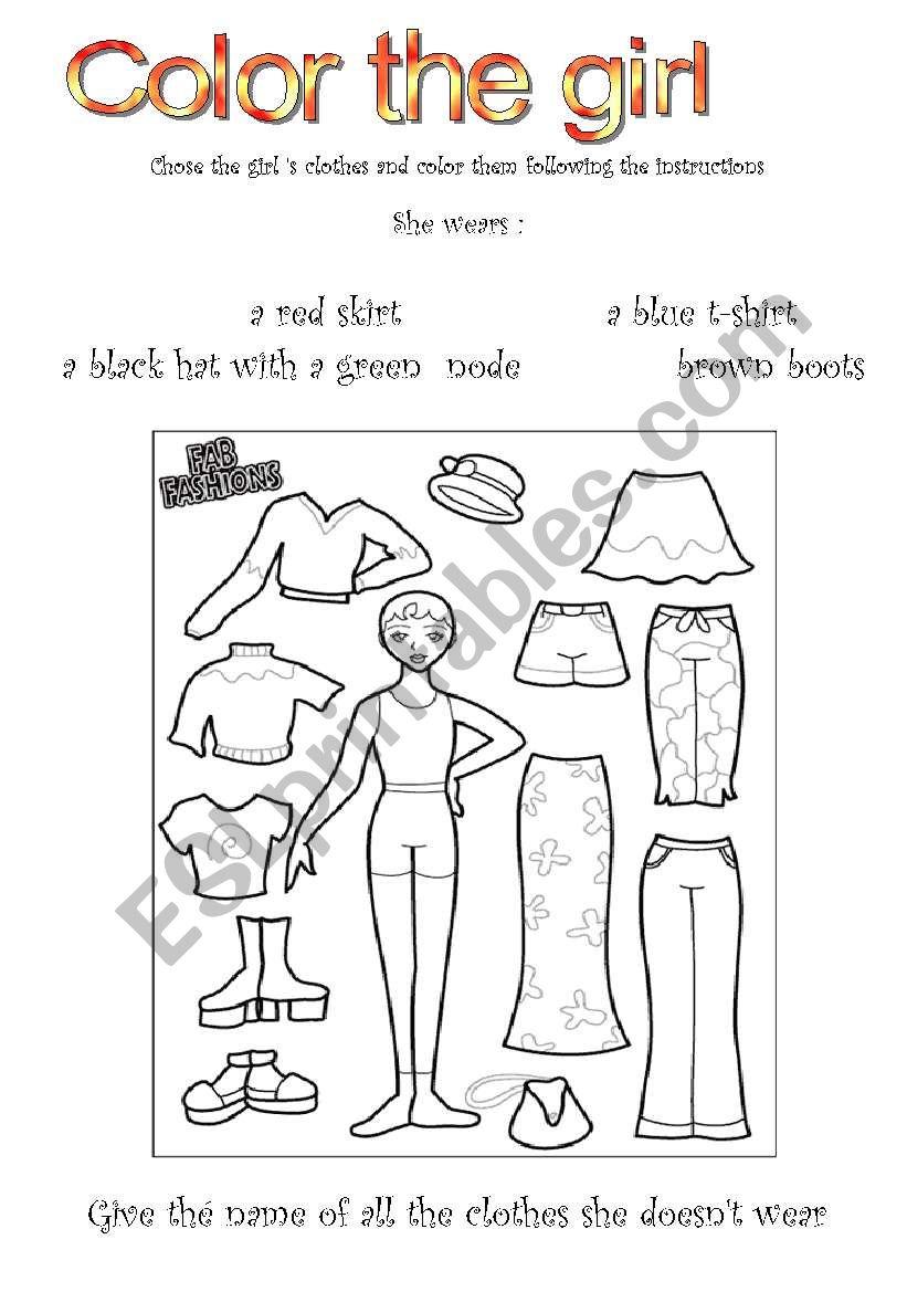 Color the girl worksheet