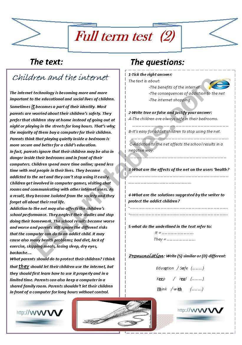 Full term test  worksheet