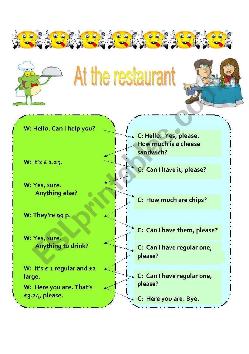 AT THE RESTAURANT worksheet