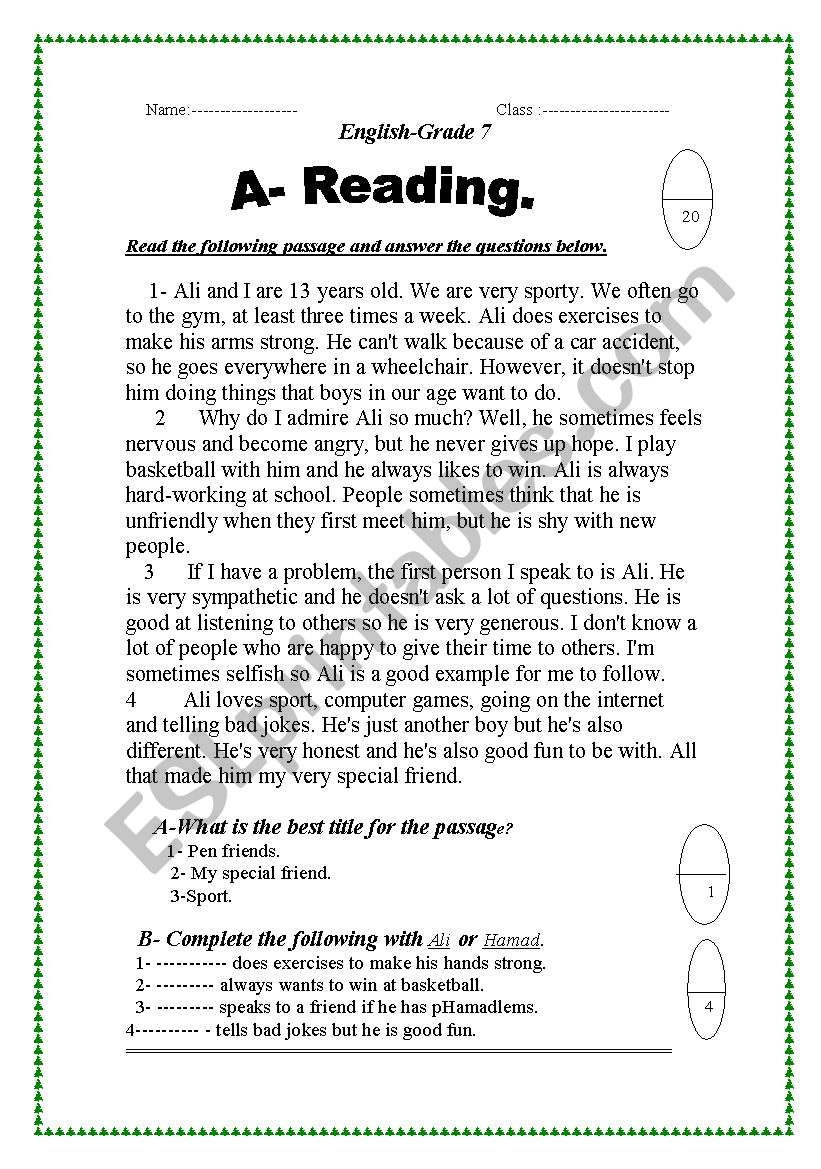 - Reading Practice - ESL Worksheet By Abaza