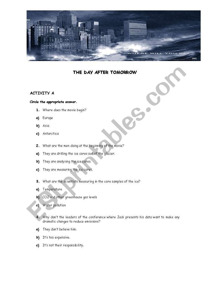 The Day After Tomorrow Esl Worksheet By Betinha78