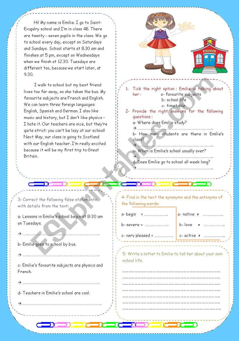 Emilie´s school life worksheet