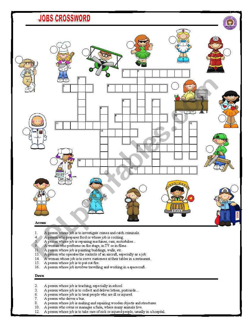Jobs Crossword with key worksheet
