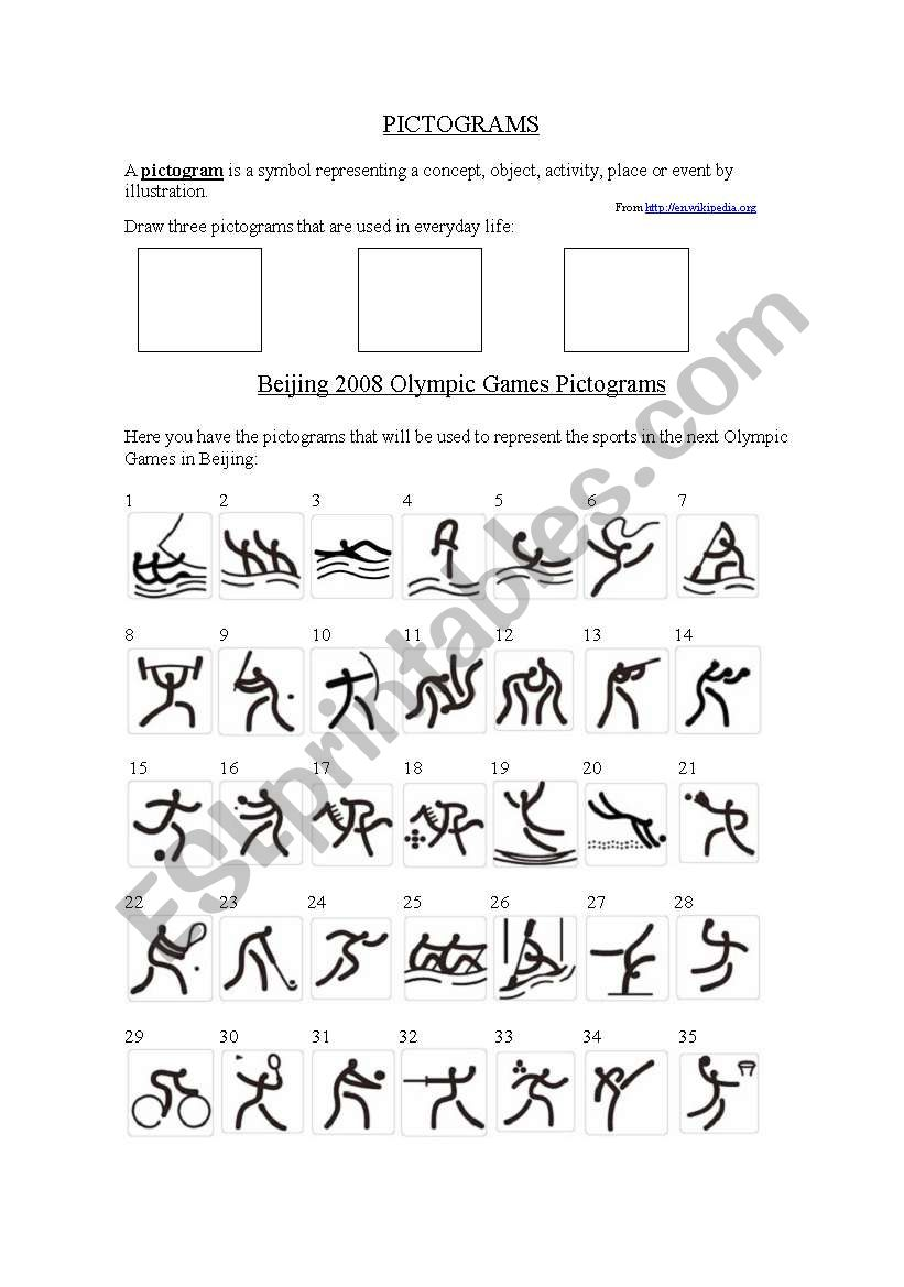 Pictograms and Olympic sports worksheet