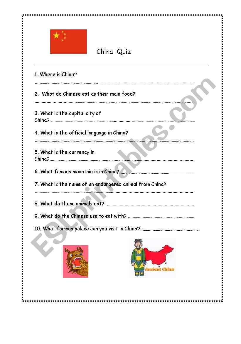 China Quiz worksheet