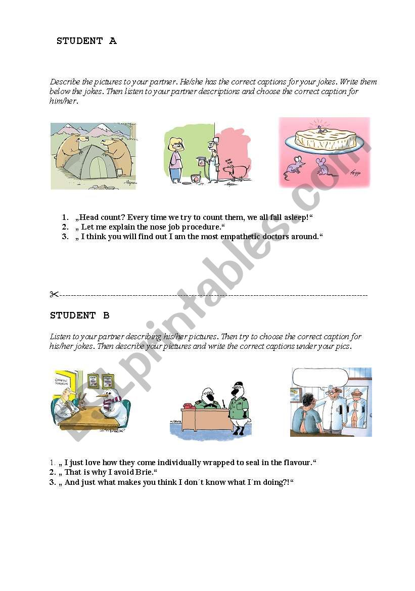 Match the jokes and captions worksheet