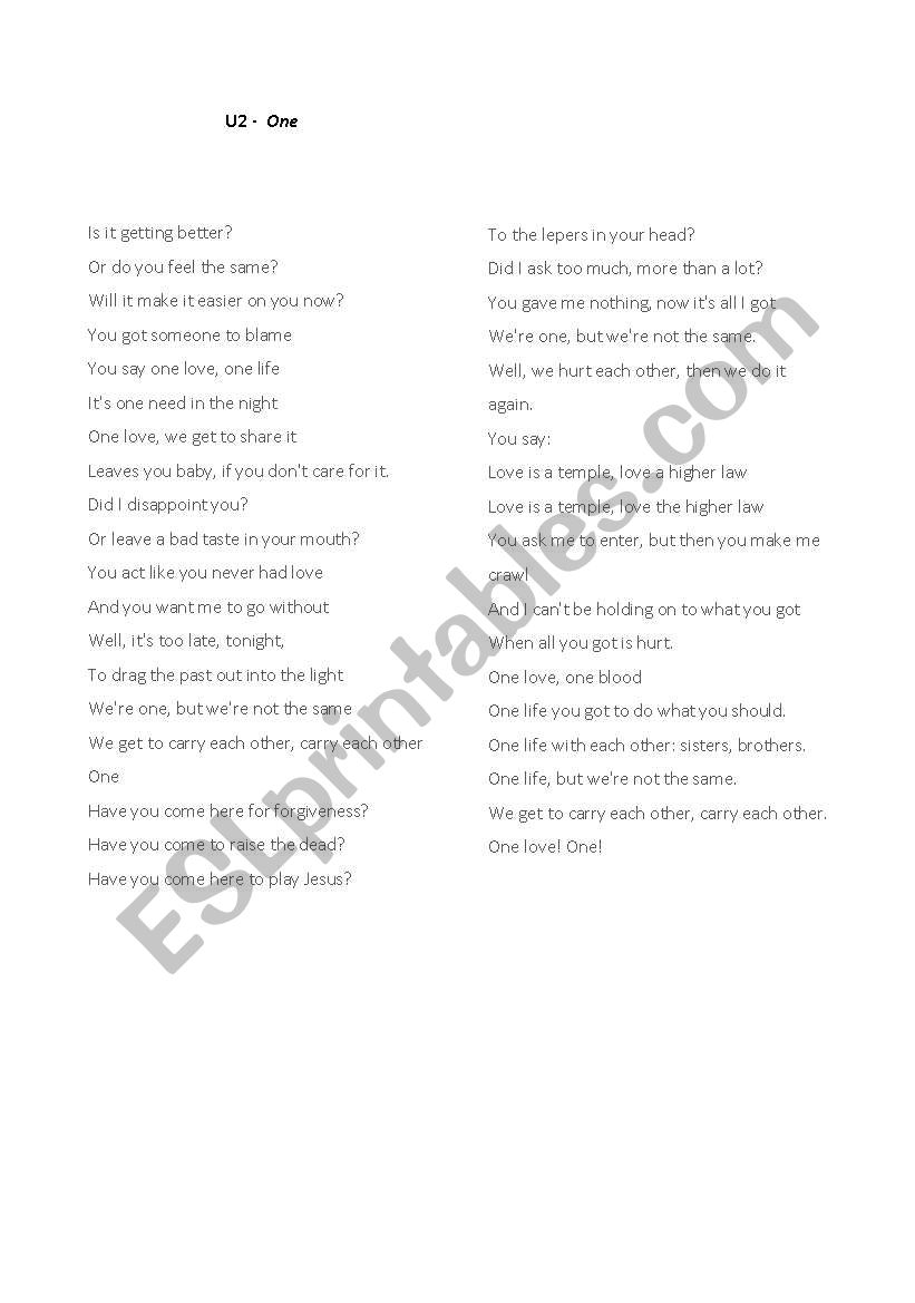English worksheets: Song U2 - One