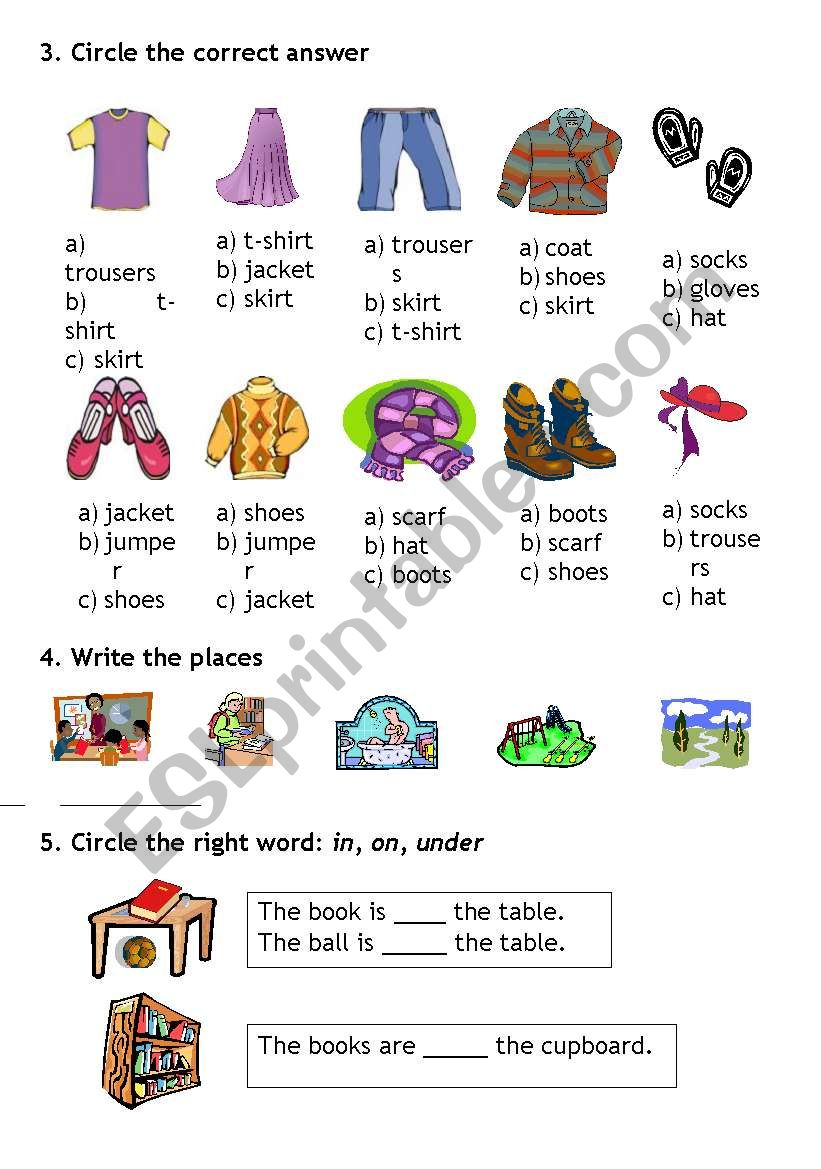 Clothes Prepositions School Places Esl Worksheet By