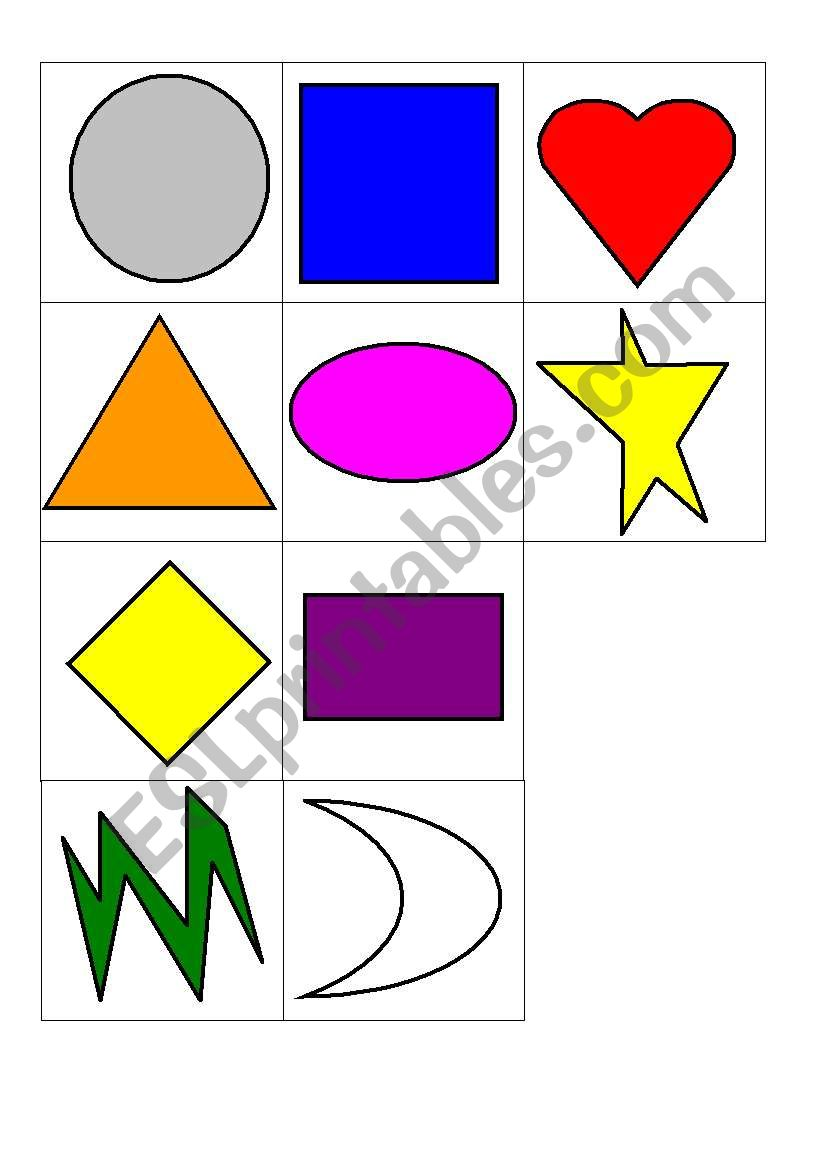 photograph about Printable Shapes Flash Cards titled English worksheets: Designs Flashcards