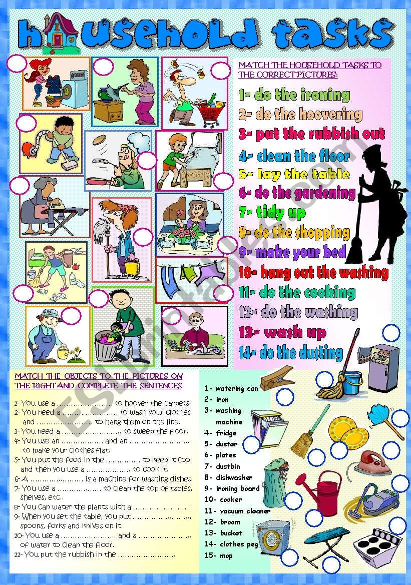 HOUSEHOLD TASKS, CHORES worksheet