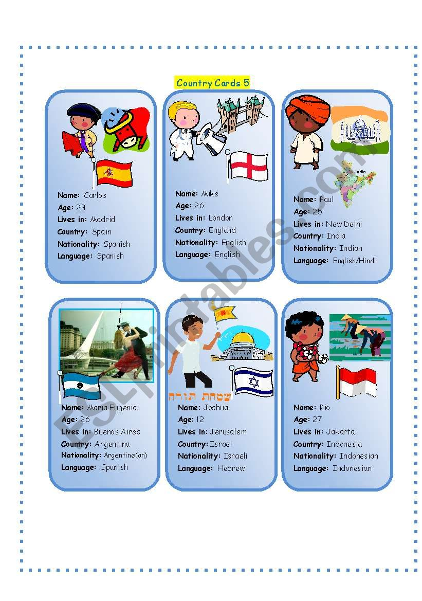 Country Cards 5 worksheet