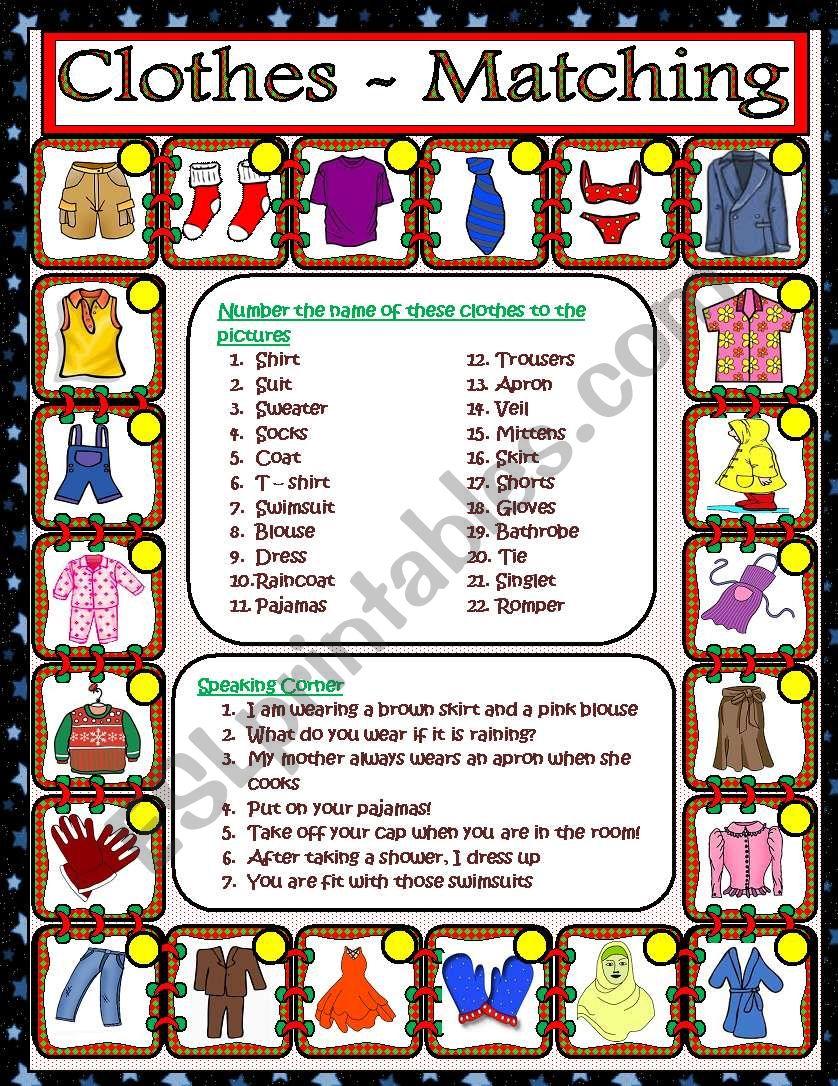 Clothes - Matching worksheet