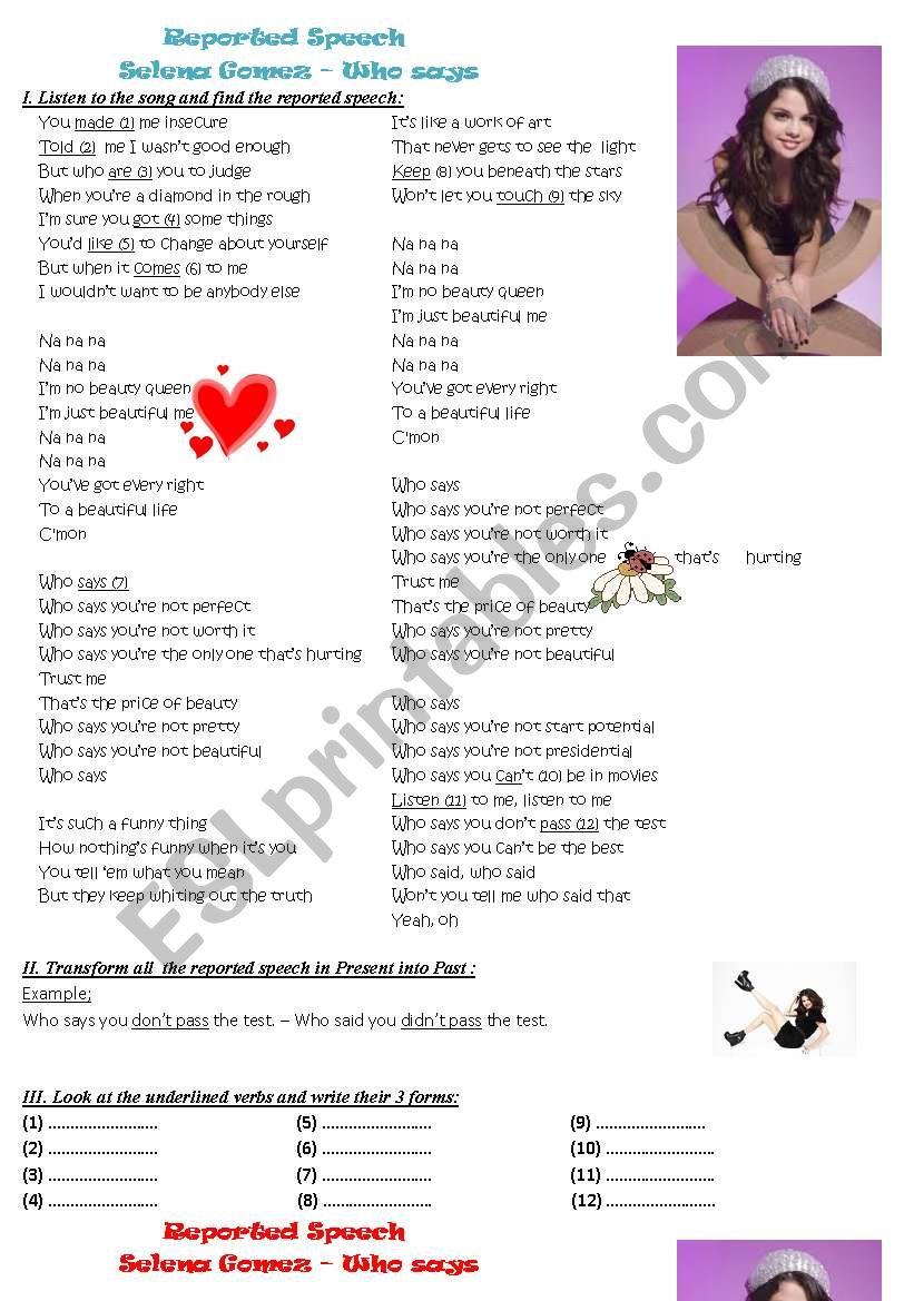 Reported Speech Song Worksheet