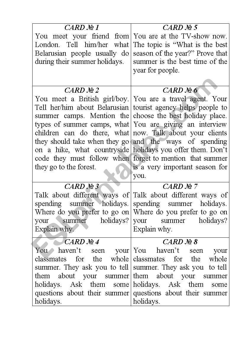 Cards  worksheet