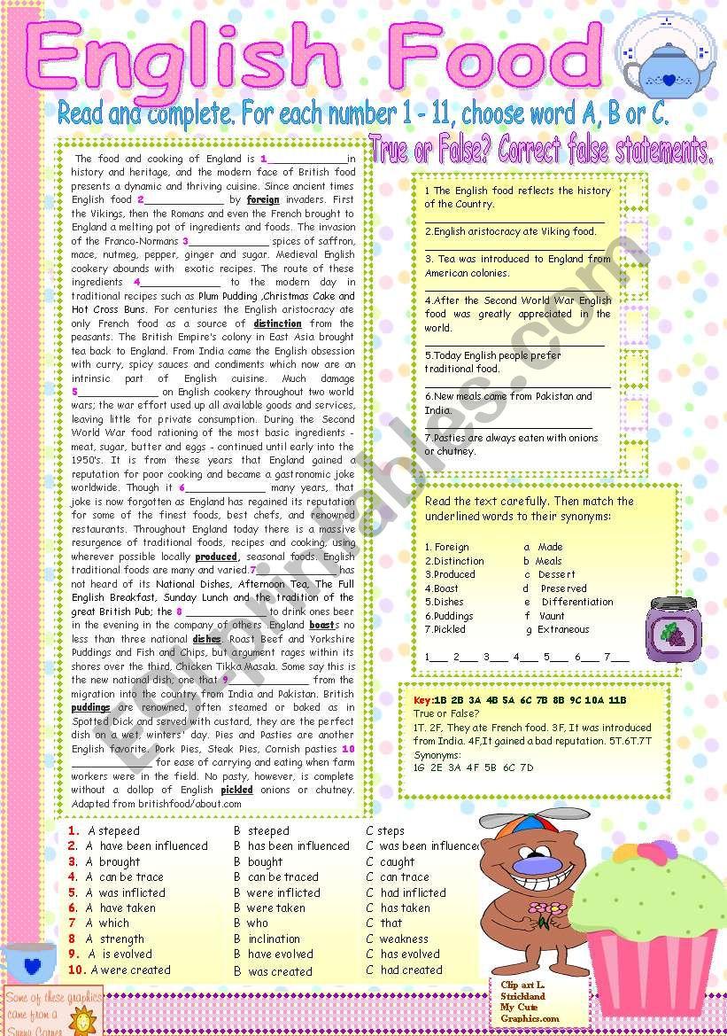 ENGLISH FOOD. worksheet