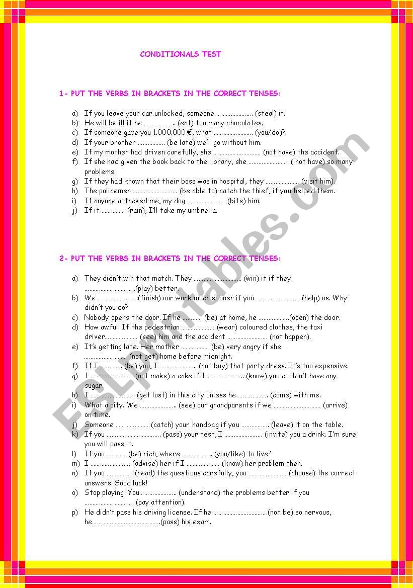 CONDITIONALS TEST worksheet