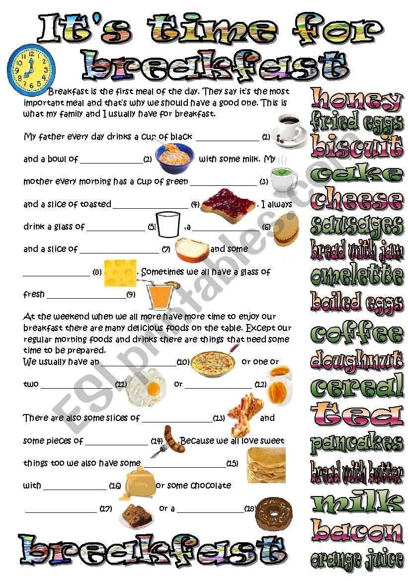 time for breakfast worksheet