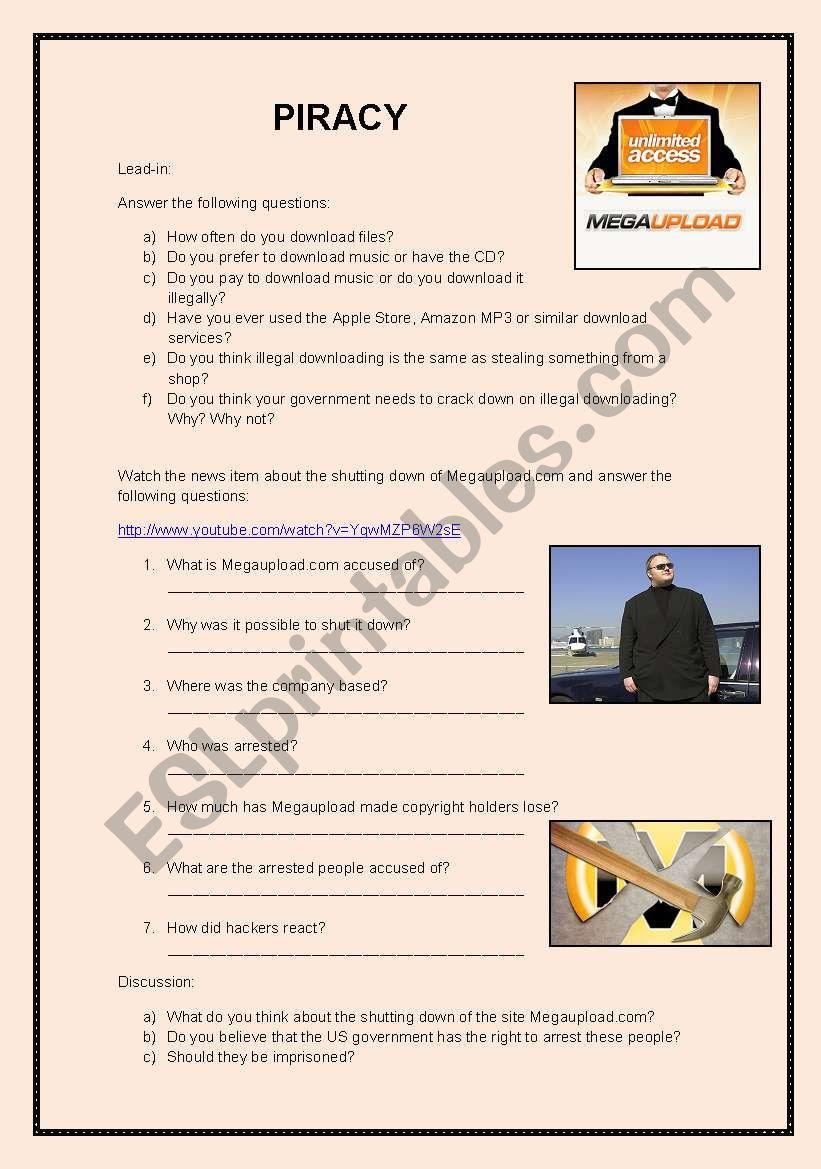 Megaupload listening activity worksheet