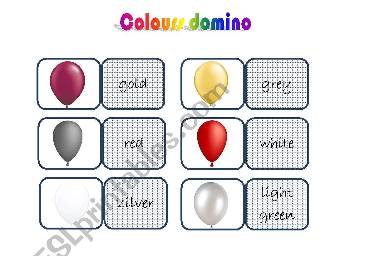 colours domino worksheet