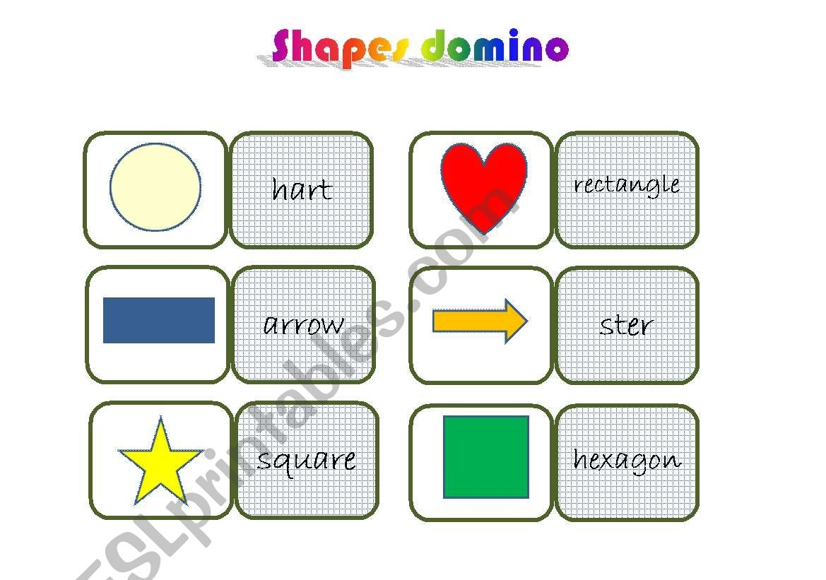 shapes domino worksheet