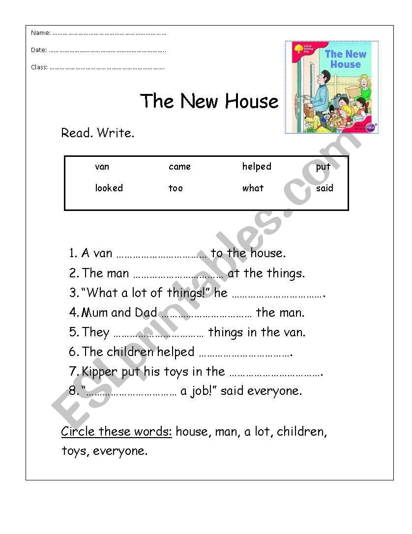 The New House worksheet