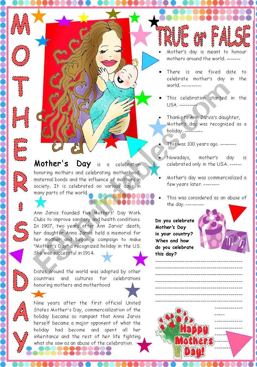 Mother´s Day: a text with comprehension question and a writing activity