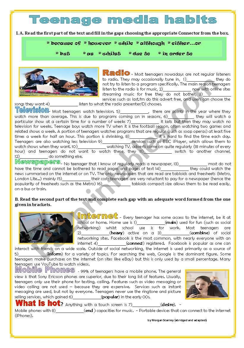 TEENAGE MEDIA HABITS worksheet