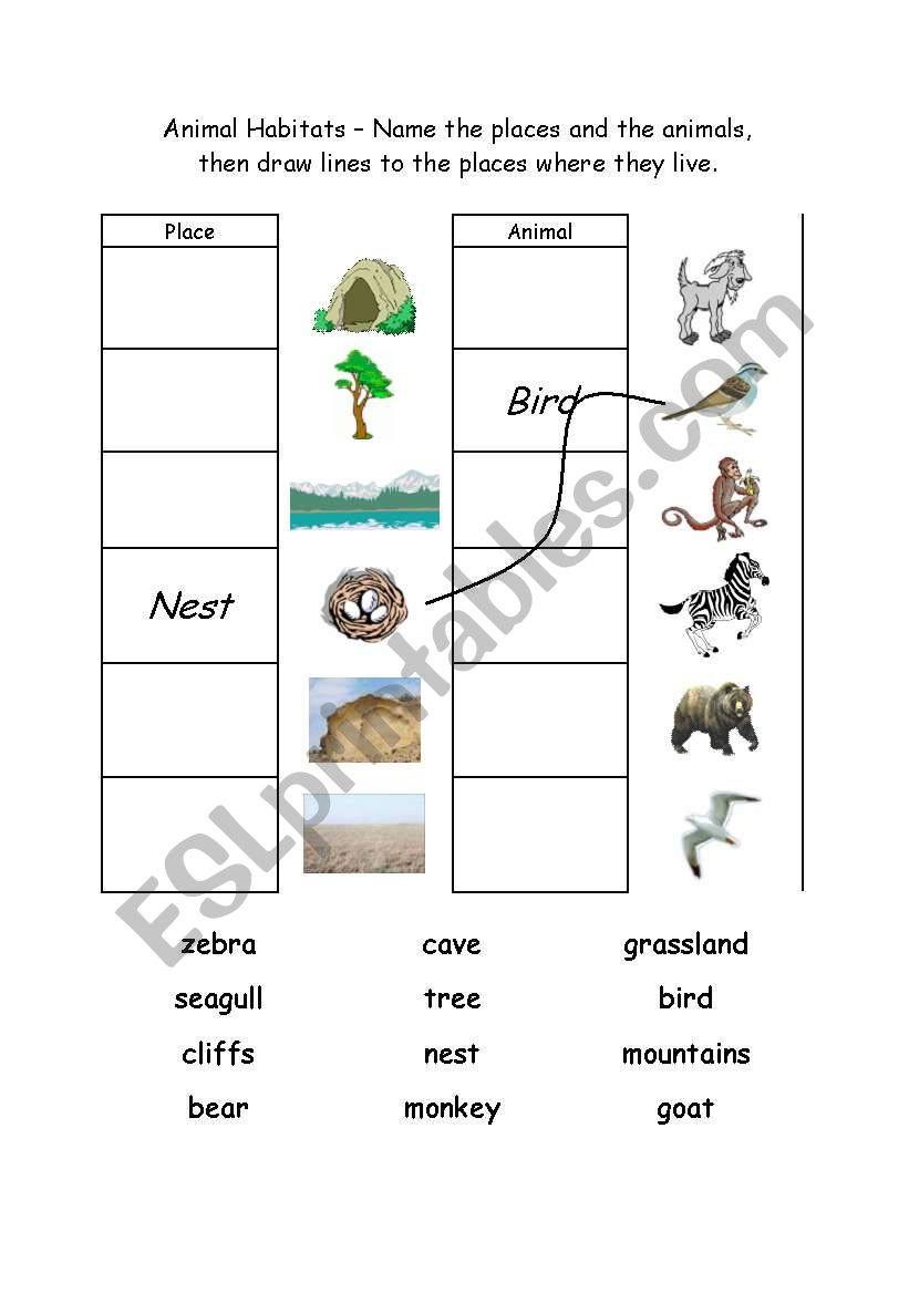 English Worksheets Animal Habitats 1