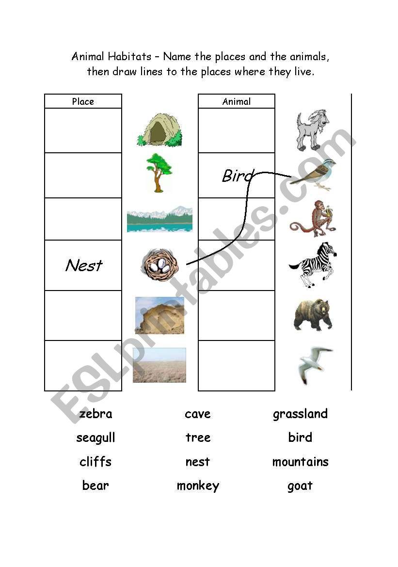English Worksheets Animal Habitats 1