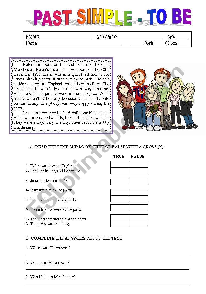 - READING/ COMPREHENSION PAST SIMPLE - TO BE - ESL Worksheet By