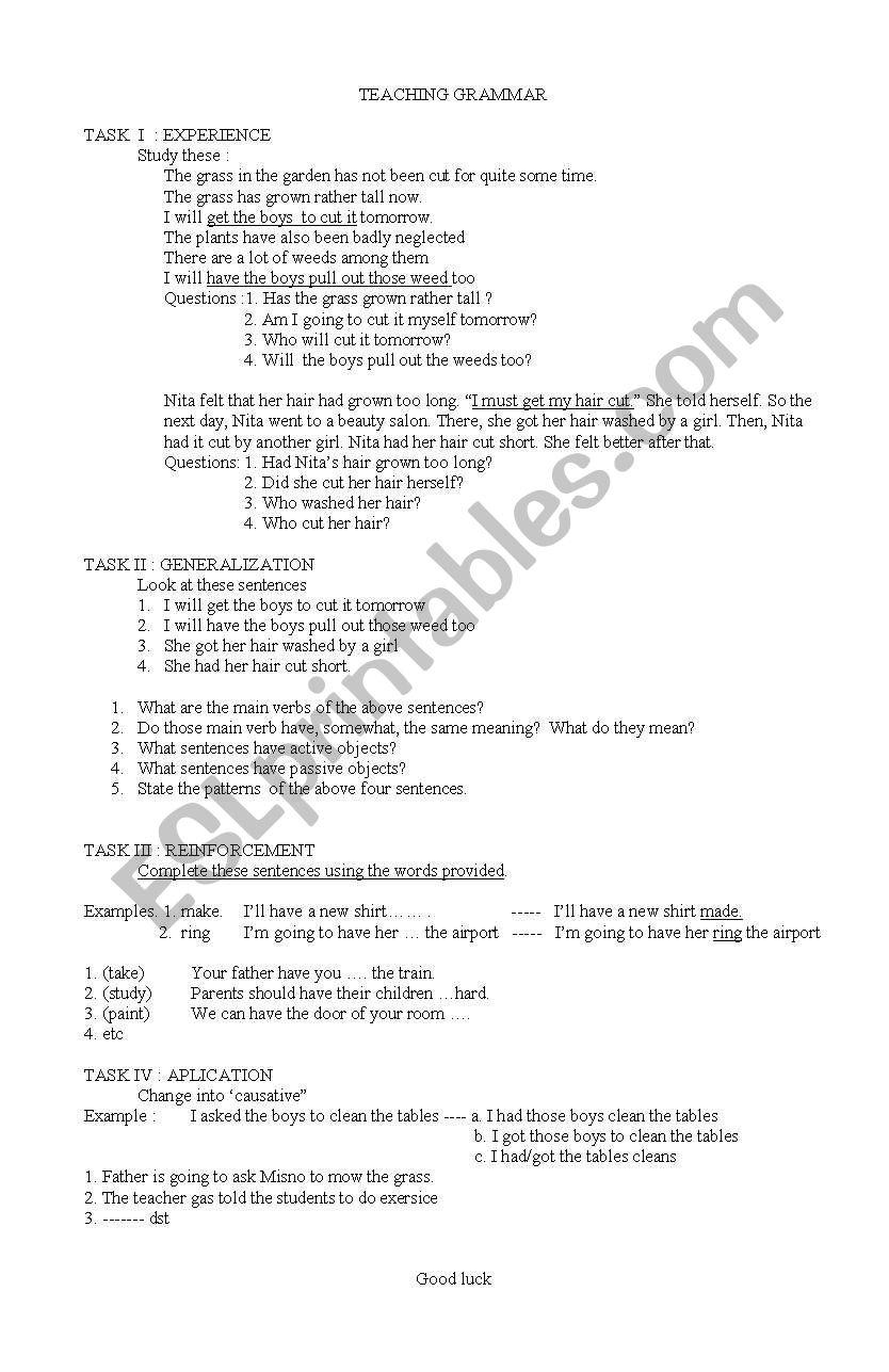 English worksheets: teaching grammar