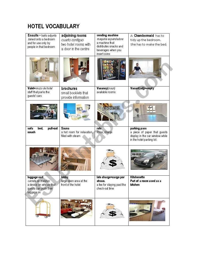 HOTEL VOCABULARY worksheet
