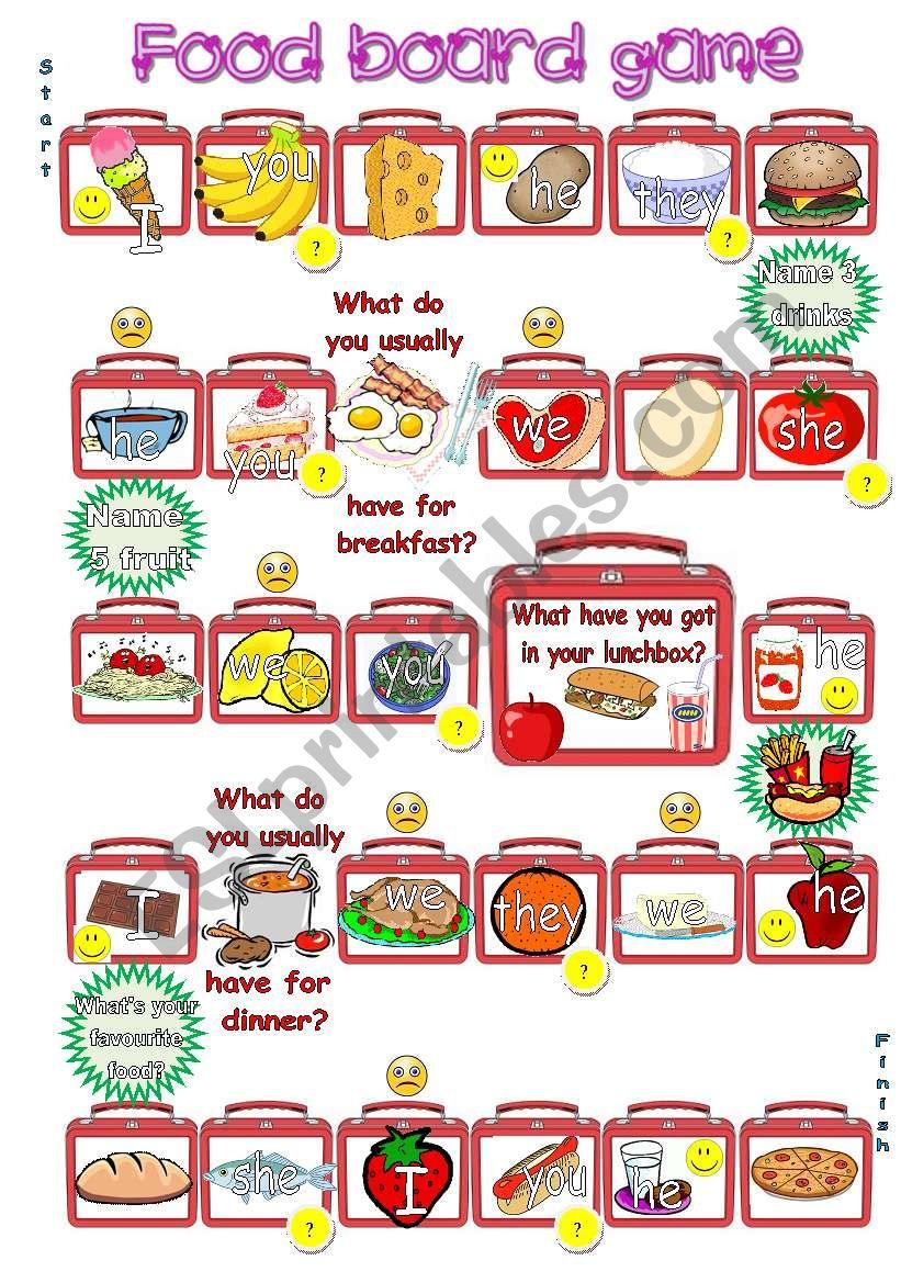 Food board game worksheet