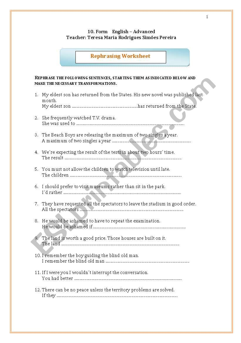 Rephrasing worksheet worksheet