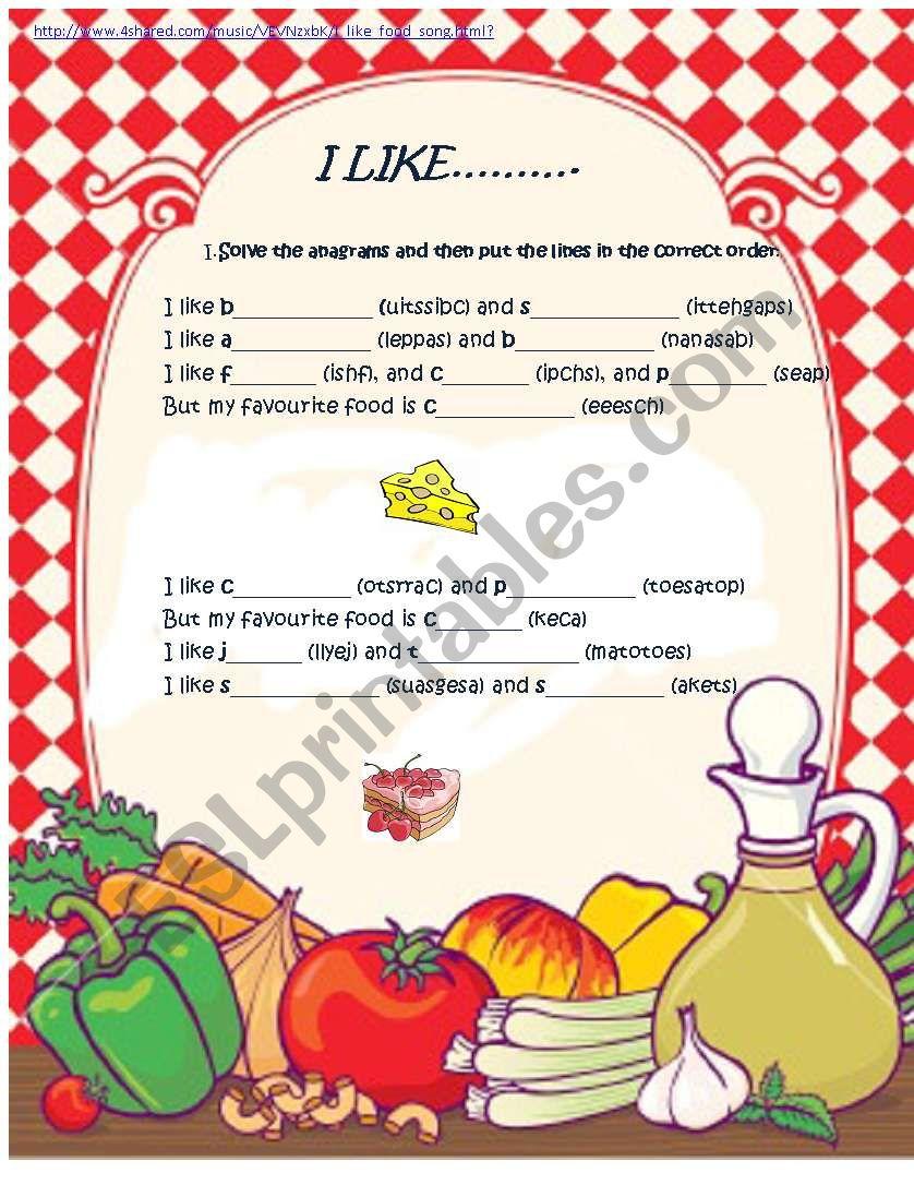 FOOD SONG worksheet