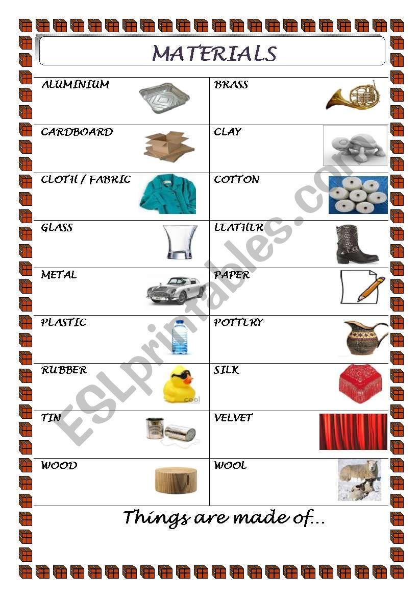 materials esl worksheet by marierose. Black Bedroom Furniture Sets. Home Design Ideas