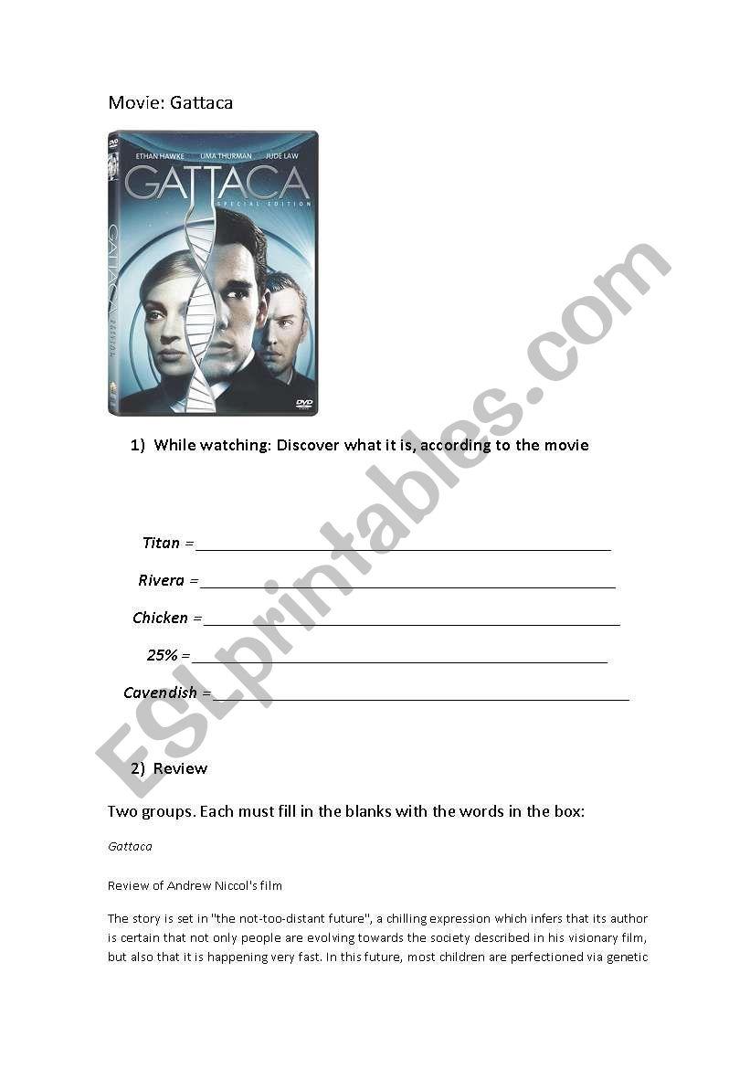 Gattaca Movie Activity Esl Worksheet By Eltonusp