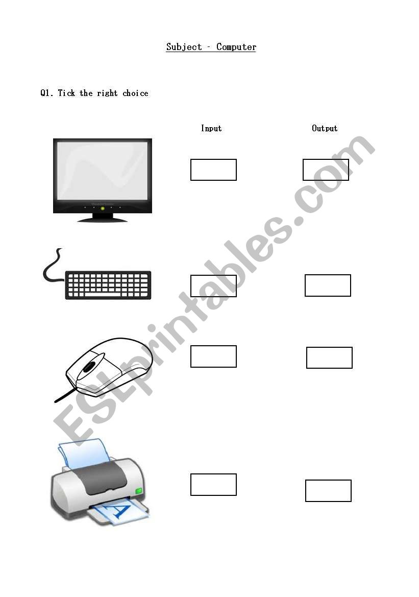 worksheet Input Output Devices Worksheet english worksheets computer input output devices worksheet