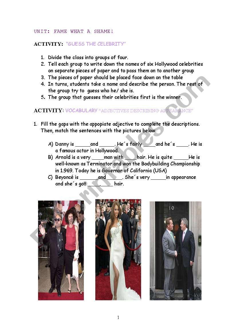 Fame, What a Shame! worksheet
