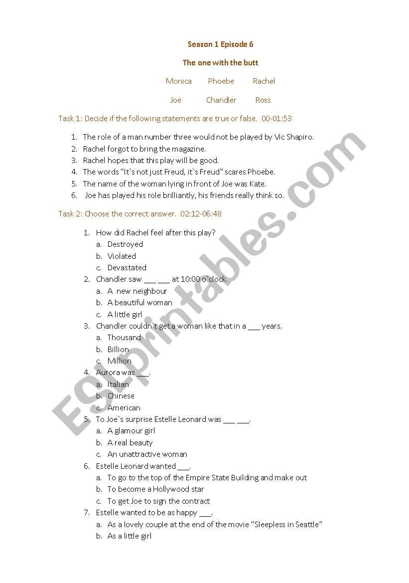 Friends Season 1 Episode 6 - ESL worksheet by YulikaTinkie