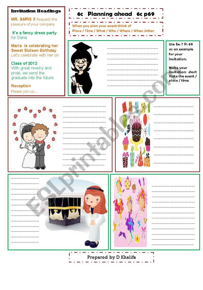 Invitation Cards Esl Worksheet By D Khalifa