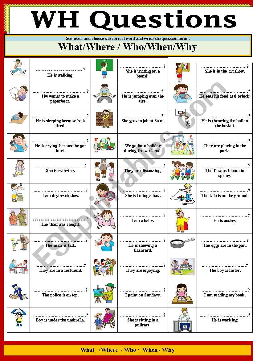 Wh Questions Esl Worksheet By Jhansi
