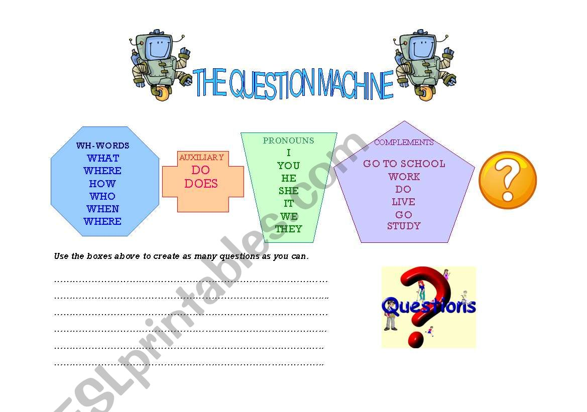 The Question Machine worksheet