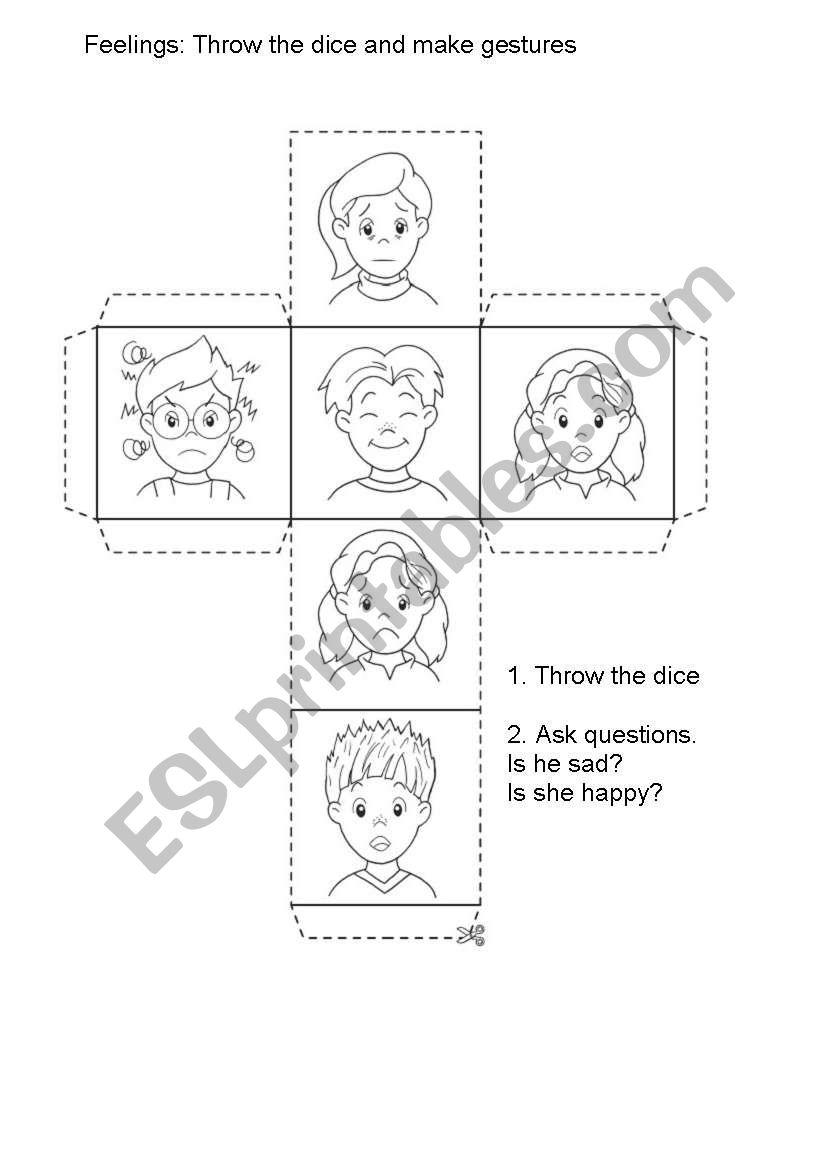 Feelings Dice worksheet