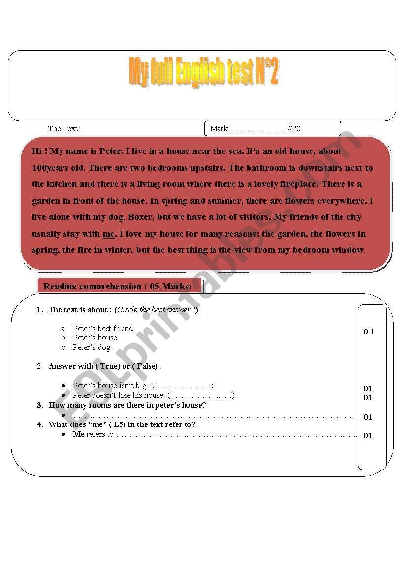 Full Term English test n2 worksheet