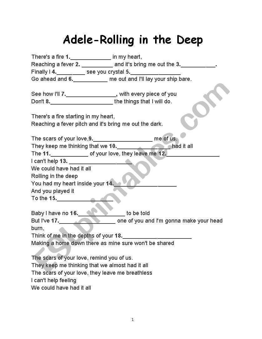 Adele-Rolling in the Deep - ESL worksheet by rusen